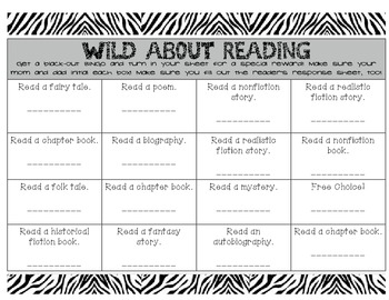 Wild About Reading Incentive