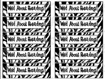 """Bookmarks: Zebra printed """"Wild About Reading"""""""