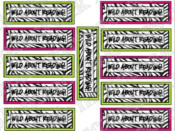 """Bookmarks: Zebra with hot pink & lime green """"Wild About Reading"""""""