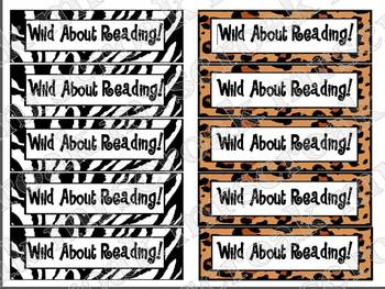 "Bookmarks: Zebra & Leopard print ""Wild About Reading!"""
