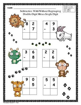 Wild About Regrouping:Double Digit and Triple Digit Subtraction Worksheets