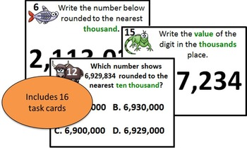 Wild About Rounding Math Task Cards