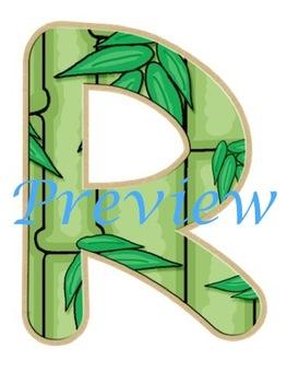 Jungle Bamboo Alphabet Clip Art Set