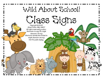 Jungle Classroom Signs Large