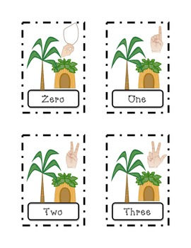 Jungle Number Word Sorting Flash Cards