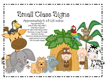 Jungle Classroom Signs Small