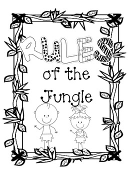 Jungle Rules of the Jungle B&W Classroom Signs
