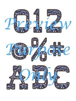 Wild West - Western Themed Blue Bandana Alphabet Graphic Set