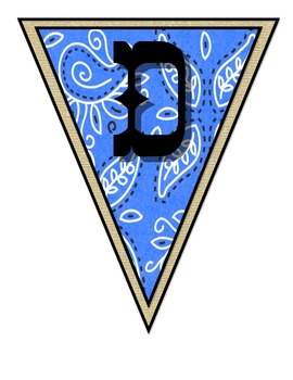 Wild West - Western Themed Blue Pennant Banner