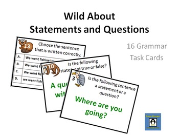 Wild About Statements and Questions - 16 Task Cards