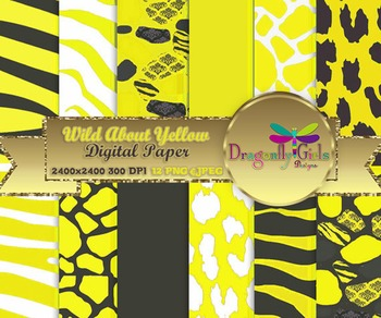 Wild About Sunny Yellow digital paper, commercial use, scrapbook papers