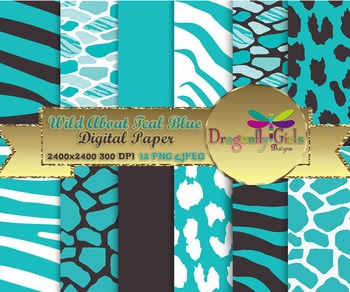 Wild About Teal Blue digital paper, commercial use, scrapbook papers
