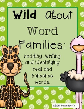 Wild About Word Families Print and Go Word Work Spin Read Cut and Paste