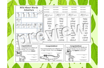 Wild About Words Adventure 1 Sight Word Progress Monitoring Game