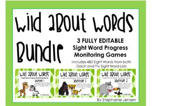 Wild About Words BUNDLE Adventures 1-3 Sight Word Progress Monitoring