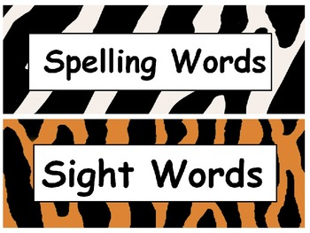 "Word Wall Letter Labels & Decor EDITABLE ""Wild About Words"" (Jungle)"