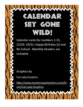 Wild Animal Calendar Set