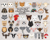 Wild Animal Faces - 45 Hand Drawn Animal Head Illustrations