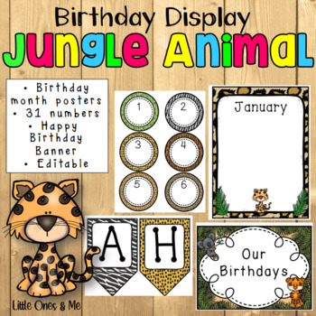 Wild Animal Jungle Birthday Charts Posters Editable By Unique Ideas With Mrs S