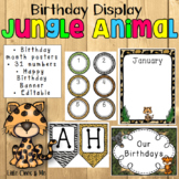 Wild Animal Jungle Birthday Charts Posters Editable