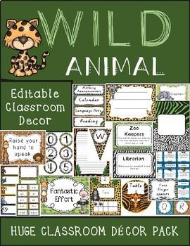 Wild Animal Jungle Classroom Decor Pack Editable