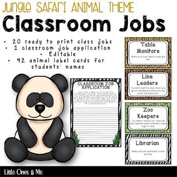 Wild Animal Jungle Classroom Jobs Editable