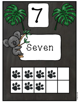 Wild Animal Jungle Classroom Number Posters