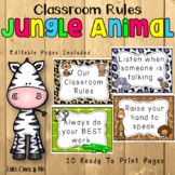 Wild Animal Jungle Classroom Rules Editable