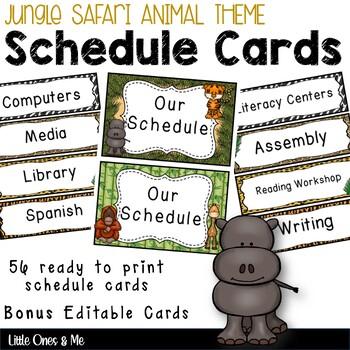 Wild Animal Jungle Classroom Schedule Cards