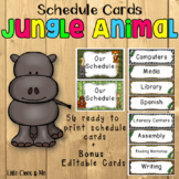 Wild Animal Jungle Classroom Schedule Cards Editable