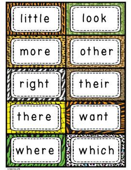 Wild Animal Jungle Classroom Sight Words