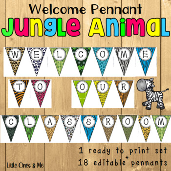 Wild Animal Jungle Classroom Welcome Pennants Editable