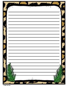Wild Animal Jungle Classroom Writing Paper