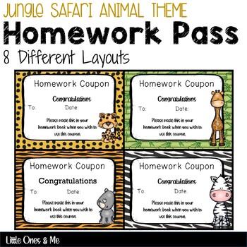 Wild Animal Jungle No Homework Pass