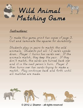 Wild Animal Matching Game Freebie