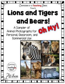 Wild Animal Photograph Sampler for Classroom and Commercial Use