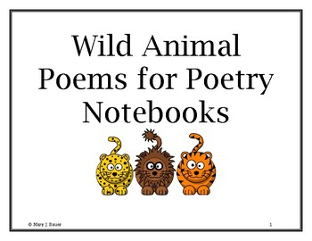 Wild Animal Poems for Poetry Notebooks