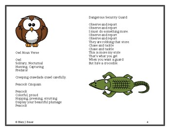 wild animal poems for poetry notebooks by artistry of education tpt