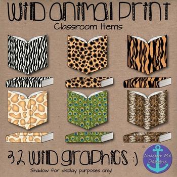 Wild Animal Print Classroom Items- Books, Pencils, Noteboo