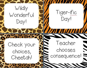 Wild Animal Print Clip Chart System