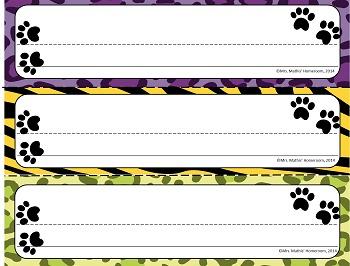 Wild Animal Print EDITABLE Student Name Plates (set of 12)