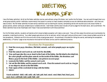 Wild Animal Safari - A File Folder Activity for Closed Syllable Exceptions