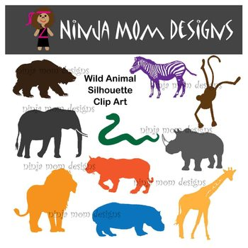 Wild Animal Silhouette Clip Art in Color and Black