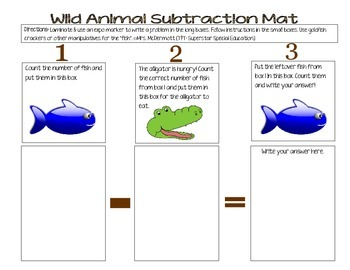 Wild Animal Subtraction Mat