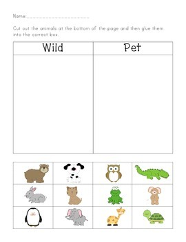 wild animal or pet file folder game and worksheet by playful learning. Black Bedroom Furniture Sets. Home Design Ideas