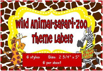 Wild Animal/Safari/Zoo Theme Labels *editable*