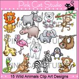Wild Animals Clip Art: lion, elephant, monkey, penguin, kangaroo, giraffe, snake