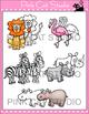 Wild Animals Clip Art: lion, elephant, monkey, penguin, ka