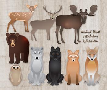 Woodland Animals Clip Art, 9 Hand Drawn Forrest Creature Illustrations