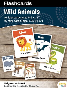 Wild Animals Flashcards / Set of 16 / Printable